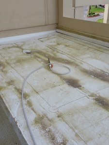 Michigan TPO membrane roof cleaning- before